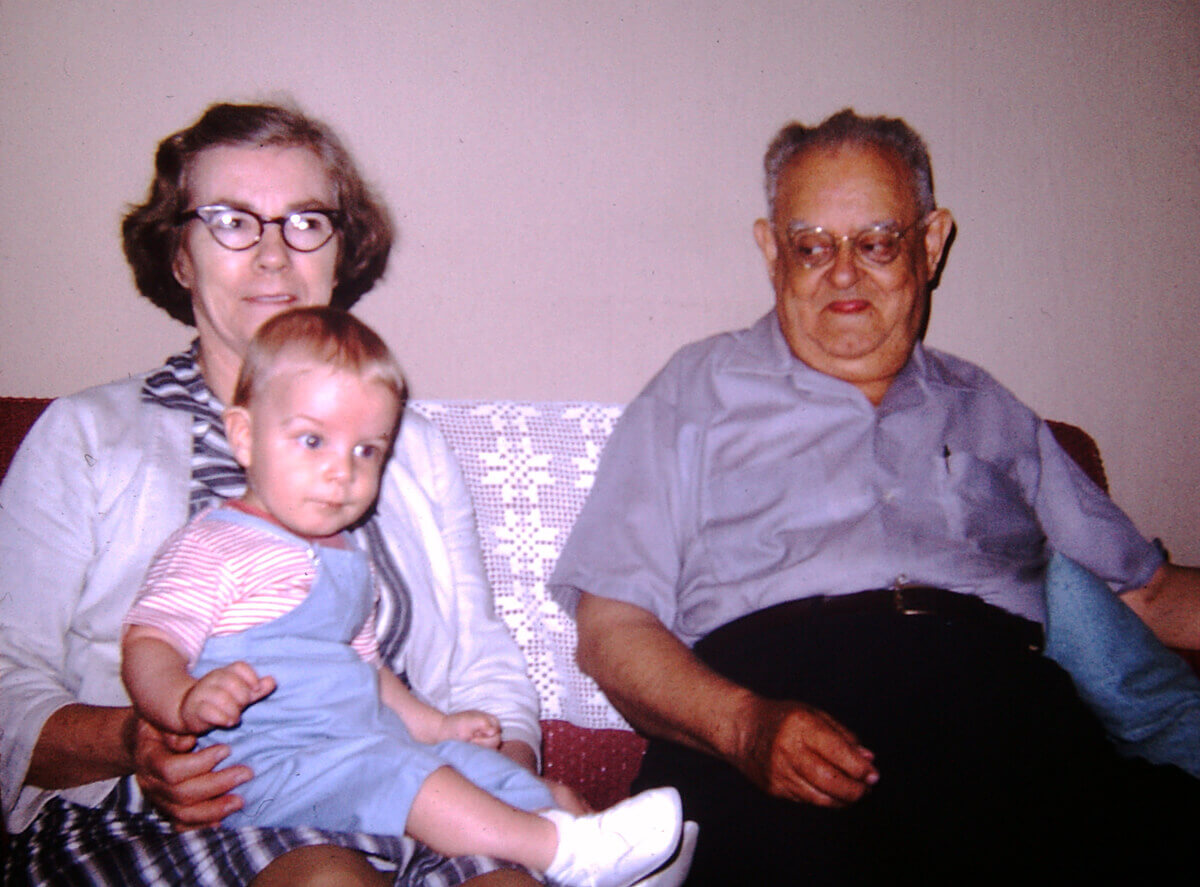 Photo of Ruby and Will Price holding the toddler Stephen around 1968 or '69 in Pearisburg, Va.